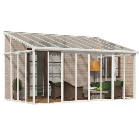 Palram HG9067 SanRemo 10' x 18' Patio Enclosure - White with Screen Doors (6)