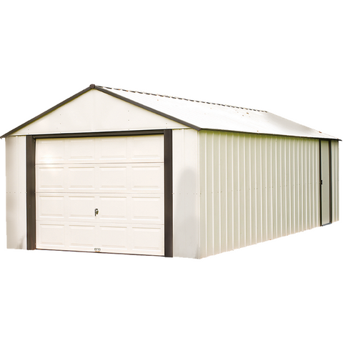 "Arrow VT1431-A Murryhill, 14x31, Vinyl Coated Steel, Coffee / Almond, High Gable, 73.8"" Wall Height, Roll-up Garage Door"