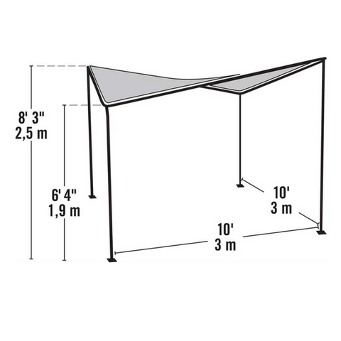 Image of ShelterLogic 10x10 Del Ray Gazebo Canopy Charcoal Frame Tan Cover