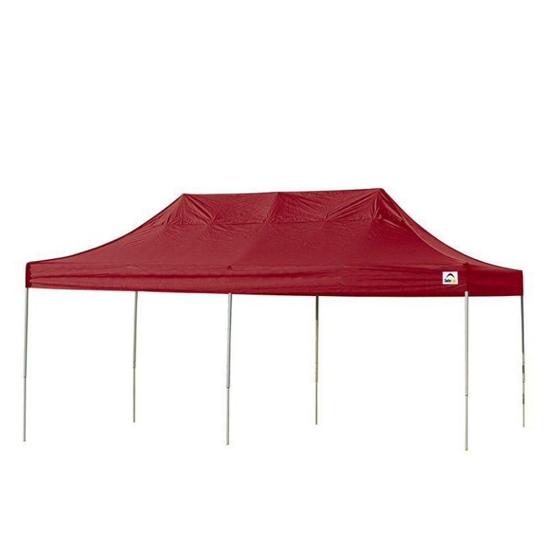 ShelterLogic 22537 10x20 ST Pop-up Canopy, Red Cover, Black Roller Bag