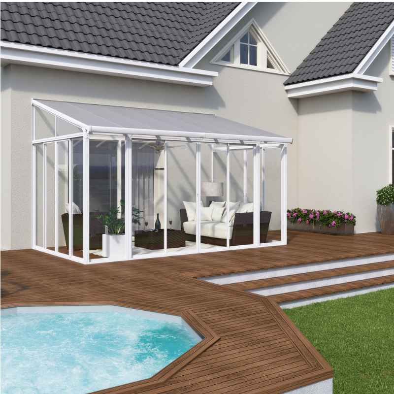 Palram SanRemo 13' x 14' Patio Enclosure - White with Screen Doors (6) - HG9068