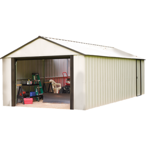 "Arrow VT1231-A Murryhill, 12x31, Vinyl Coated Steel, Coffee / Almond, High Gable, 73.8"" Wall Height, Roll-up Garage Door"