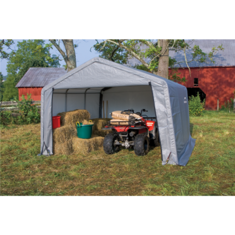 "Image of ShelterLogic 70403 6×10×6'6"" Peak Style Storage Shed, 1-3/8"" Frame, Grey Cover"
