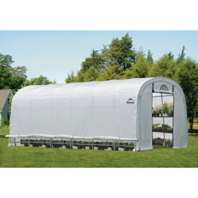 "ShelterLogic 70593 12x24x8 / 3,7x7,3x2,4 m (6) Rib Round Style Powder Coated 1-5/8"" Frame; Translucent Cover w/Side Vents; (2) 2-Zipper Door w/Screened Windows"