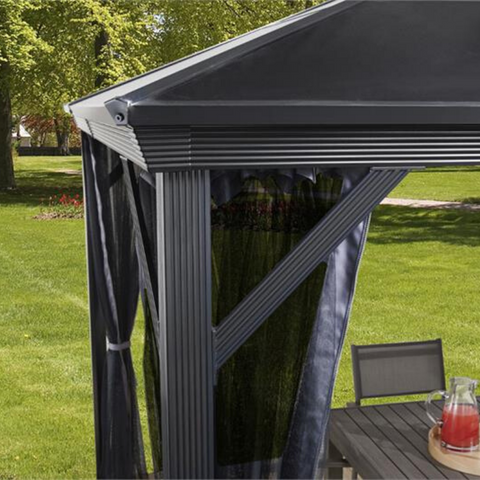 Image of Sojag Verona 10x10 Hard Top Gazebo with Polycarbonate Roof & Mosquito Netting