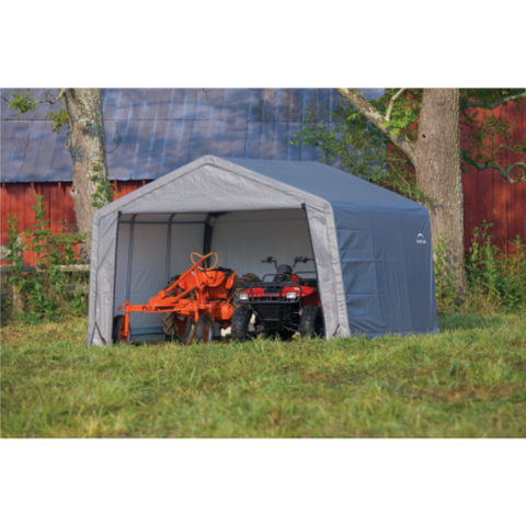 "ShelterLogic 70403 6×10×6'6"" Peak Style Storage Shed, 1-3/8"" Frame, Grey Cover"