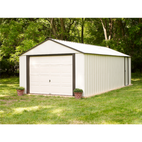 "Image of Arrow VT1431-A Murryhill, 14x31, Vinyl Coated Steel, Coffee / Almond, High Gable, 73.8"" Wall Height, Roll-up Garage Door"