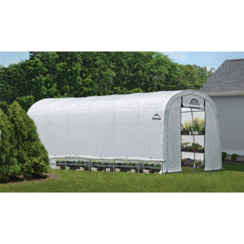 "Image of ShelterLogic 70593 12x24x8 / 3,7x7,3x2,4 m (6) Rib Round Style Powder Coated 1-5/8"" Frame; Translucent Cover w/Side Vents; (2) 2-Zipper Door w/Screened Windows"