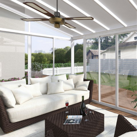 Image of Palram SanRemo 13' x 14' Patio Enclosure - White with Screen Doors (6) - HG9068