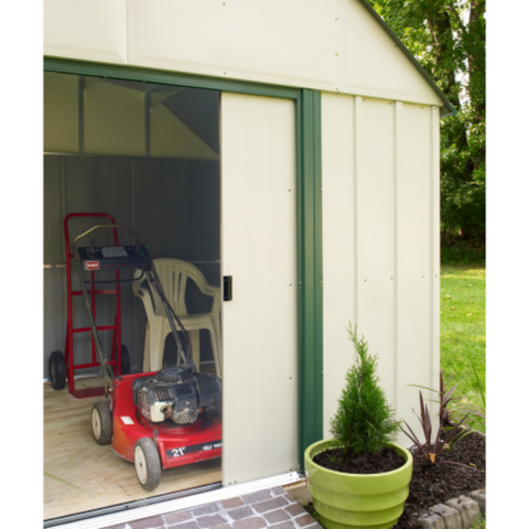 "Arrow VS108-B Vinyl Sheridan, 10x8, Vinyl Coated Steel, Meadow Green / Almond, Gambrel Gable, 62"" Wall Height, Sliding Doors"