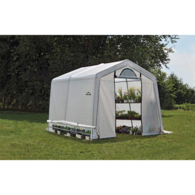 ShelterLogic 70656 10x10x8 ft. / 3x3x2,4 m (3) Rib Peak Style Grow It Greenhouse-in-a-Box; Translucent Cover w/Side Vents; (1) 2-Zipper Door w/Screened Window; (1) Back Panel w/Screened Window