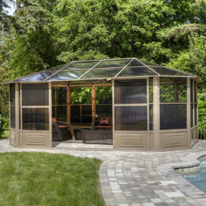 Image of Gazebo Penguin™ Sunroom Kit 12x18 Sand Tan with Polycarbonate Roof