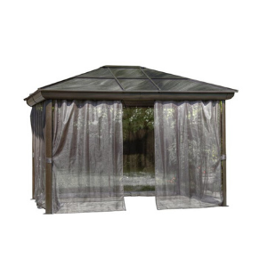 Gazebo Penguin Venice Gazebo 10 Ft. x 14 Ft Brown with Nettings and Privacy Curtains