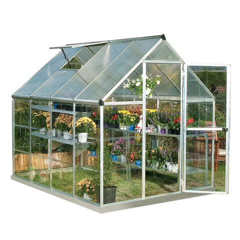 Palram HG5508 Hybrid 6' x 8' Greenhouse Nature Series - Silver