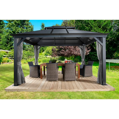 Sojag Mykonos II 10x14 Double Roof Hardtop Gazebo with Mosquito Netting