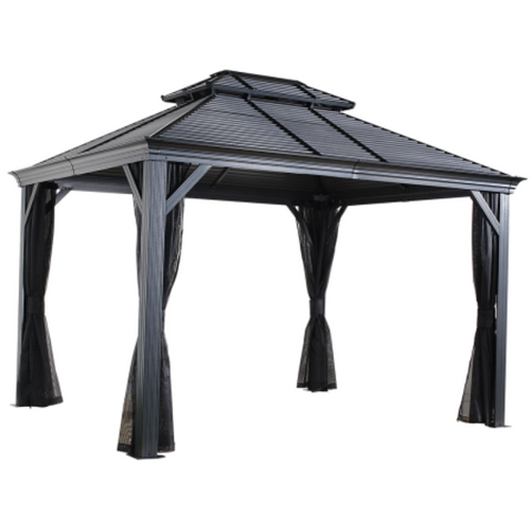 Image of Sojag Mykonos II 10x14 Double Roof Hardtop Gazebo with Mosquito Netting