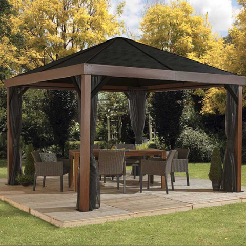 Image of Sojag Valencia Gazebo Wood Finish 12 x 12 ft. with Mosquito Netting