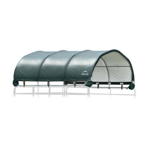 "ShelterLogic 51523 12x12 Corral Shelter - Powder Coated 1-3/8"" Steel Frame, 7.5 oz Green PE"
