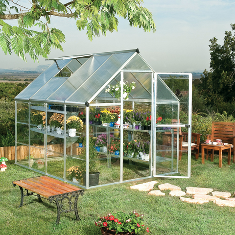 Image of Palram HG5508 Hybrid 6' x 8' Greenhouse Nature Series - Silver