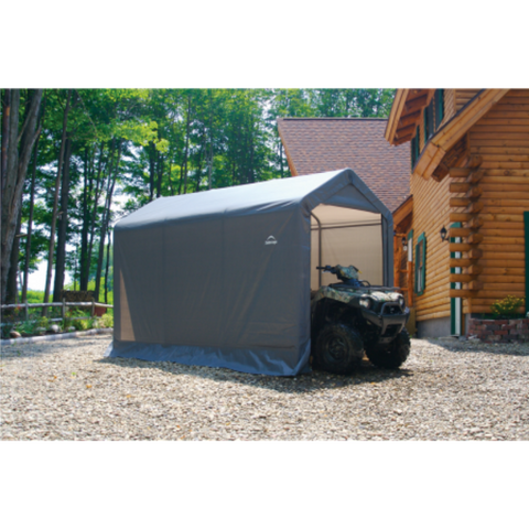 "Image of ShelterLogic 70423 10x10x8 ft. / 3x3x2,4 m Round Style Storage Shed,  Grey Cover8×8×8 Peak Style Storage Shed, 1-3/8"" Frame, Grey Cover"