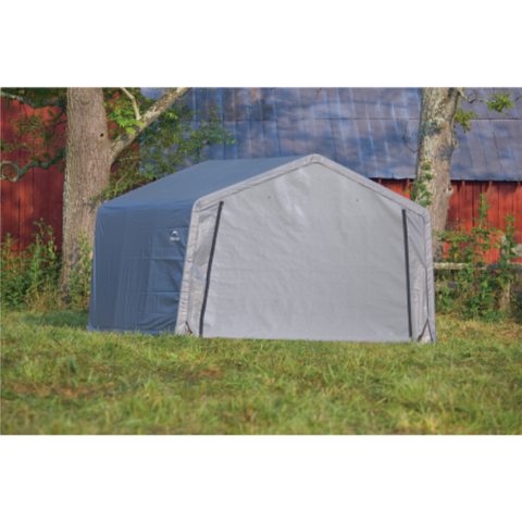 "Image of ShelterLogic 70443 12×12×8 Peak Style Storage Shed, 1-3/8"" Frame, Grey Cover"