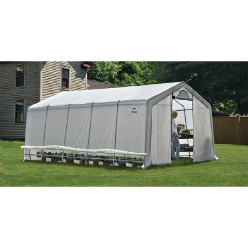 "ShelterLogic 70590 12x20x8 / 3,7x6,1x2,4 m (6) Rib Peak Style Powder Coated 1-5/8"" Frame; Translucent Cover w/Side Vents; (2) 2-Zipper Door w/Screened Windows"