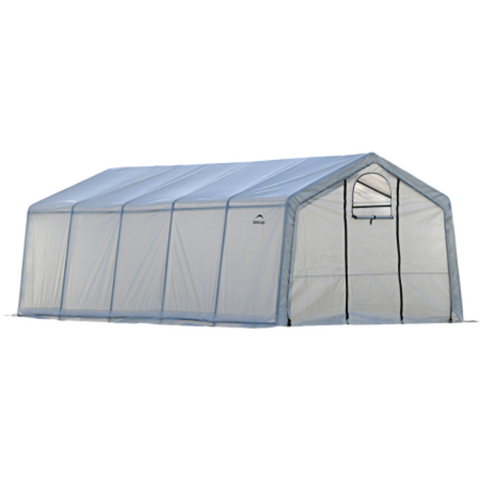 "Image of ShelterLogic 70590 12x20x8 / 3,7x6,1x2,4 m (6) Rib Peak Style Powder Coated 1-5/8"" Frame; Translucent Cover w/Side Vents; (2) 2-Zipper Door w/Screened Windows"