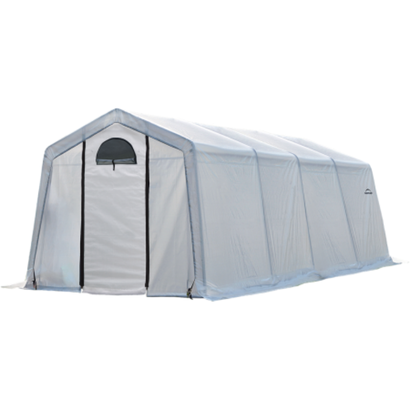 ShelterLogic 70658 10x20x8 ft. / 3x6,1x2,4 m (5) Rib Peak Style Grow It Greenhouse-in-a-Box; Translucent Cover w/Side Vents; (1) 2-Zipper Door w/Screened Window; (1) Back Panel w/Screened Window