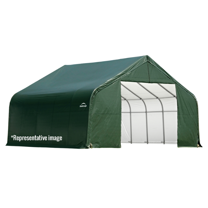 ShelterLogic 71444 12x20x8 Peak Style Shelter, Green Cover
