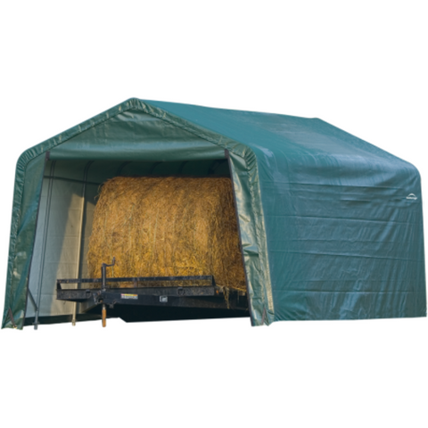 Image of Shelter Logic 71534 12x20x8 Peak Style Hay Storage Shelter, Green Cover