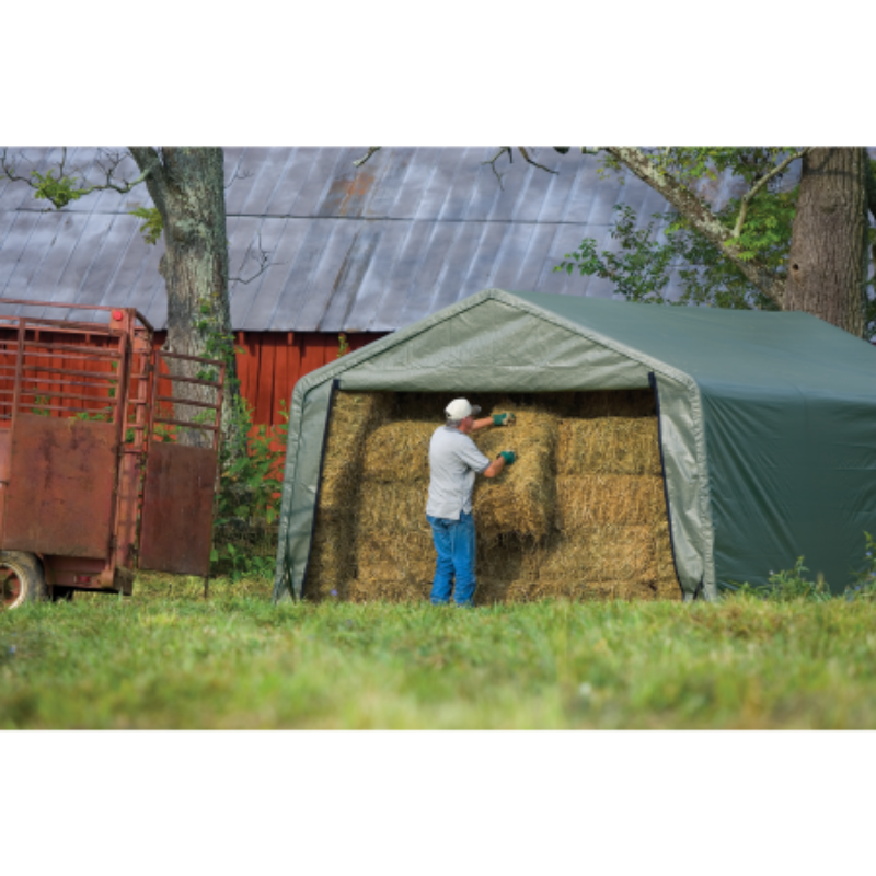 Shelter Logic 71534 12x20x8 Peak Style Hay Storage Shelter, Green Cover