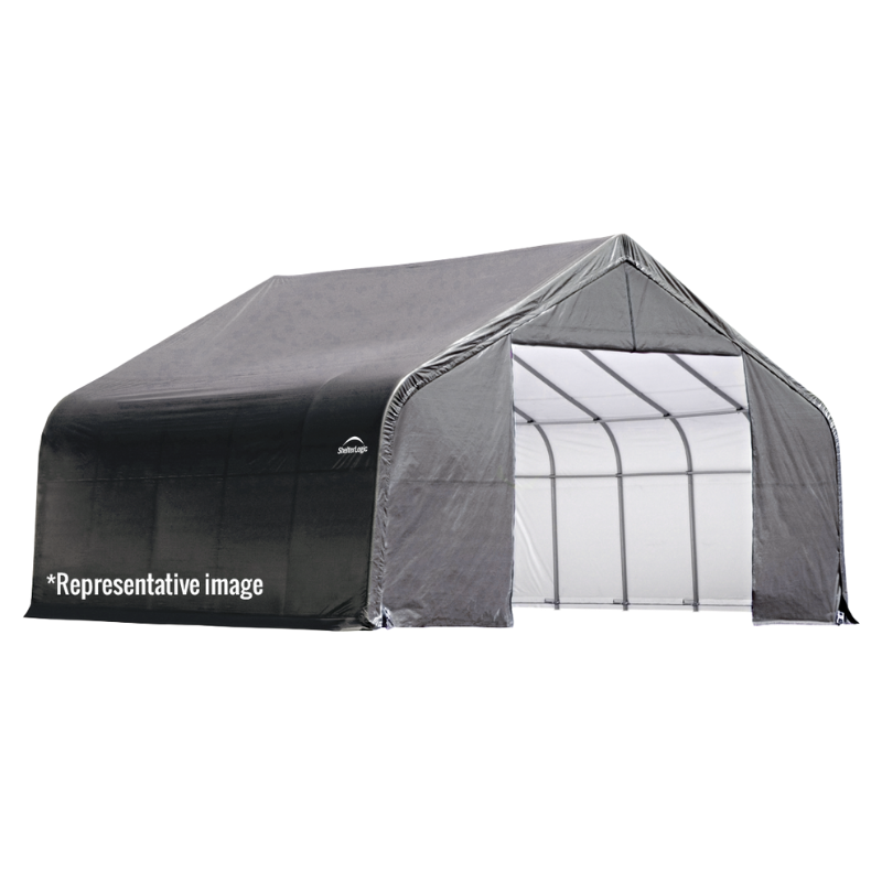 Shelter Logic 72434 12x24x8 Peak Style Shelter, Grey Cover