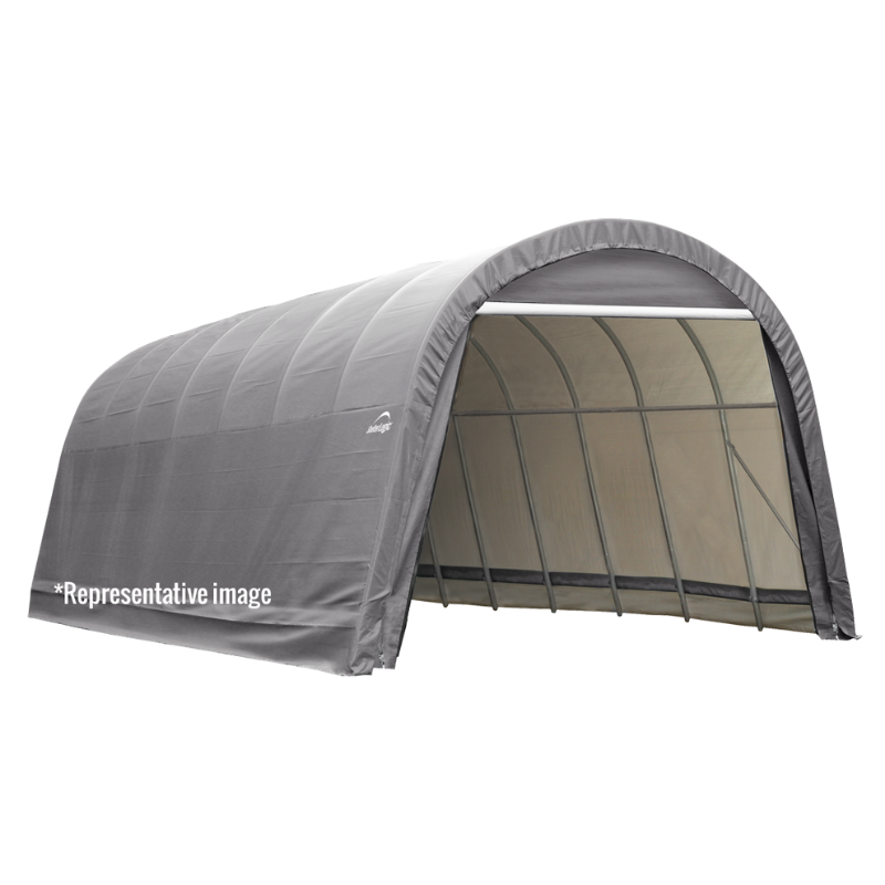 ShelterLogic 76632 12x28x8 Round Style Shelter, Grey Cover