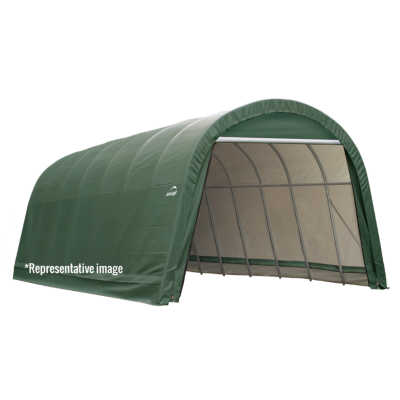 ShelterLogic 77822 11x8x10 Round Style Shelter, Green Cover