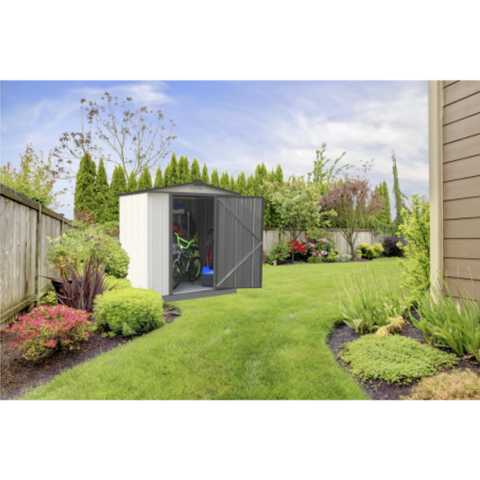 Image of Arrow EZ6565LVCRCC EZEE Shed® , 6x5, Low Gable, 65 in walls, vents, Cream & Charcoal