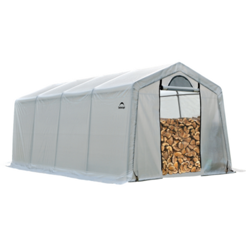 Shelter Logic 90397 10 x 20 x 8 Seasoning Shed; 5.5oz Clear PE Cover