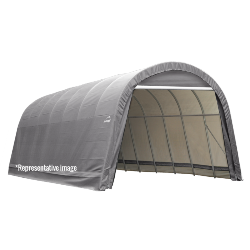 Shelter Logic 95360 15x24x12 Round Style Shelter, Grey Cover