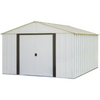 "Arrow AR1012-C1 Arlington, 10x12, Electro Galvanized Steel, Coffee / Eggshell, High Gable, 62"" Wall Height, Sliding Doors"
