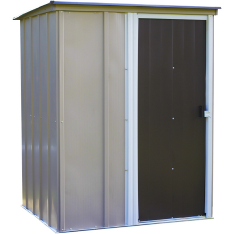 "Image of Arrow BW54-A Brentwood Shed, 5x4, Electro Galvanized Steel, Taupe, Lean-to Roof, 67"" Wall Height, Sliding Door"