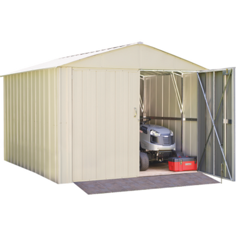 "Arrow CHD1010-A Commander, 10x10, Hot Dipped Galvanized Steel, Eggshell, High Gable, 71.3"" Wall Height, Extra Wide Swing Doors"