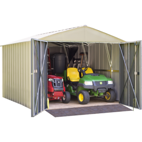 "Image of Arrow CHD1010-A Commander, 10x10, Hot Dipped Galvanized Steel, Eggshell, High Gable, 71.3"" Wall Height, Extra Wide Swing Doors"