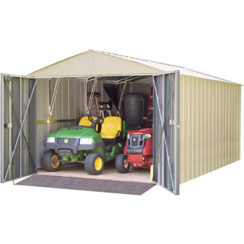 "Arrow CHD1015-A Commander, 10x15, Hot Dipped Galvanized Steel, Eggshell, High Gable, 71.3"" Wall Height, Extra Wide Swing Doors"