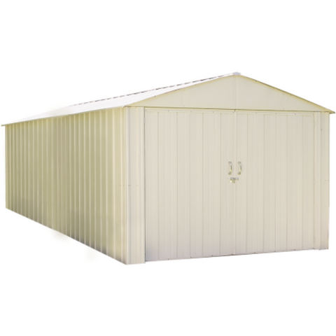 "Arrow CHD1020-A Commander, 10x20, Hot Dipped Galvanized Steel, Eggshell, High Gable, 71.3"" Wall Height, Extra Wide Swing Doors"