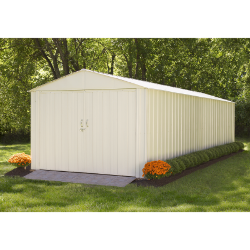 "Arrow CHD1025-A Commander, 10x25, Hot Dipped Galvanized Steel, Eggshell, High Gable, 71.3"" Wall Height, Extra Wide Swing Doors"