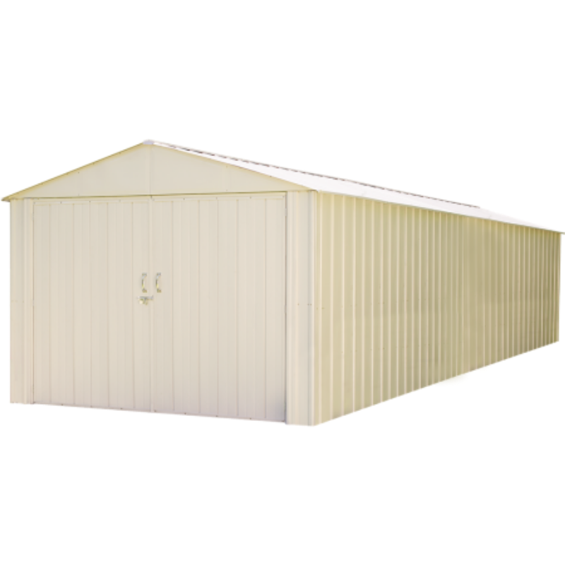 "Arrow CHD1030-A Commander, 10x30, Hot Dipped Galvanized Steel, Eggshell, High Gable, 71.3"" Wall Height, Extra Wide Swing Doors"