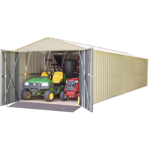 "Image of Arrow CHD1030-A Commander, 10x30, Hot Dipped Galvanized Steel, Eggshell, High Gable, 71.3"" Wall Height, Extra Wide Swing Doors"