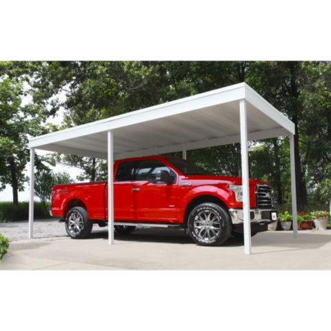 Arrow CP1020 Freestanding Carport/Patio Cover, 10x20, Hot Dipped Galvanized Steel with Vinyl Coating, Eggshell Finish, Flat Roof