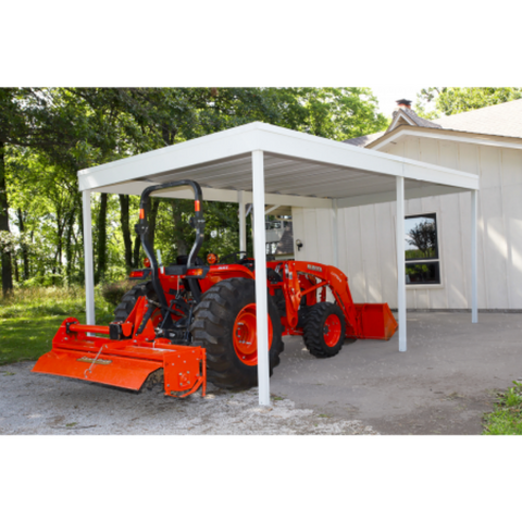 Image of Arrow CP1020 Freestanding Carport/Patio Cover, 10x20, Hot Dipped Galvanized Steel with Vinyl Coating, Eggshell Finish, Flat Roof