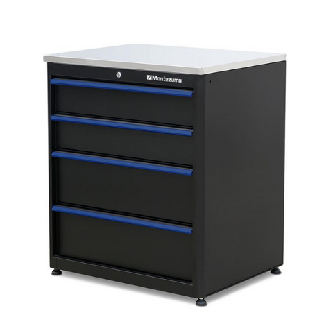 Image of Montezuma BKMG30244BC 4-Drawer Base Cabinet with Stainless Steel Worktop