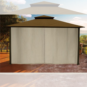 Paragon Outdoor Kingsbury 11x14 Gazebo with Cocoa Top, Mosquito Netting, Privacy Curtains